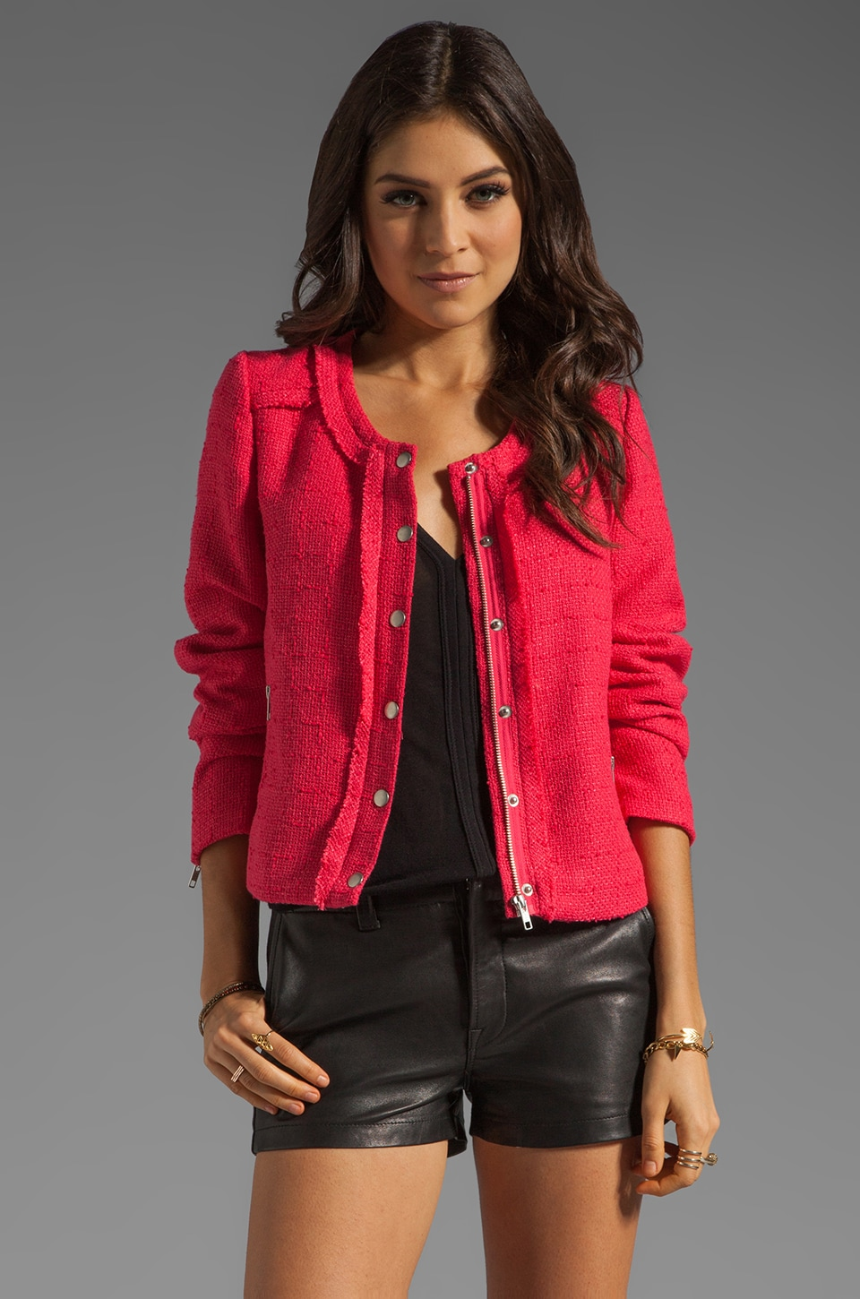 MM Couture by Miss Me Tweed Jacket in Fuchsia