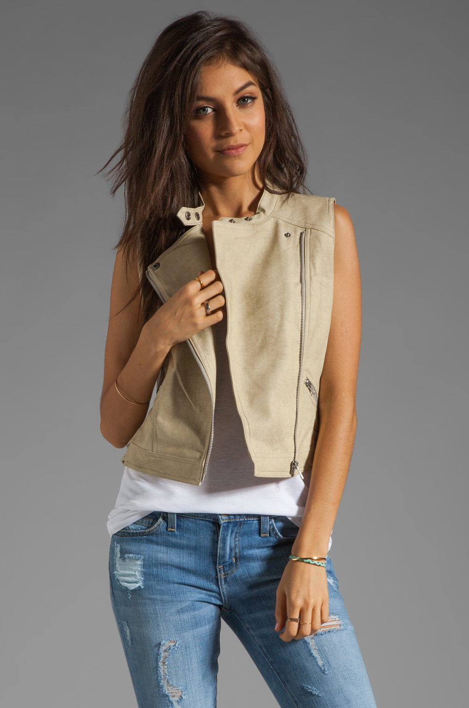 MM Couture by Miss Me Moto Vest in Off White