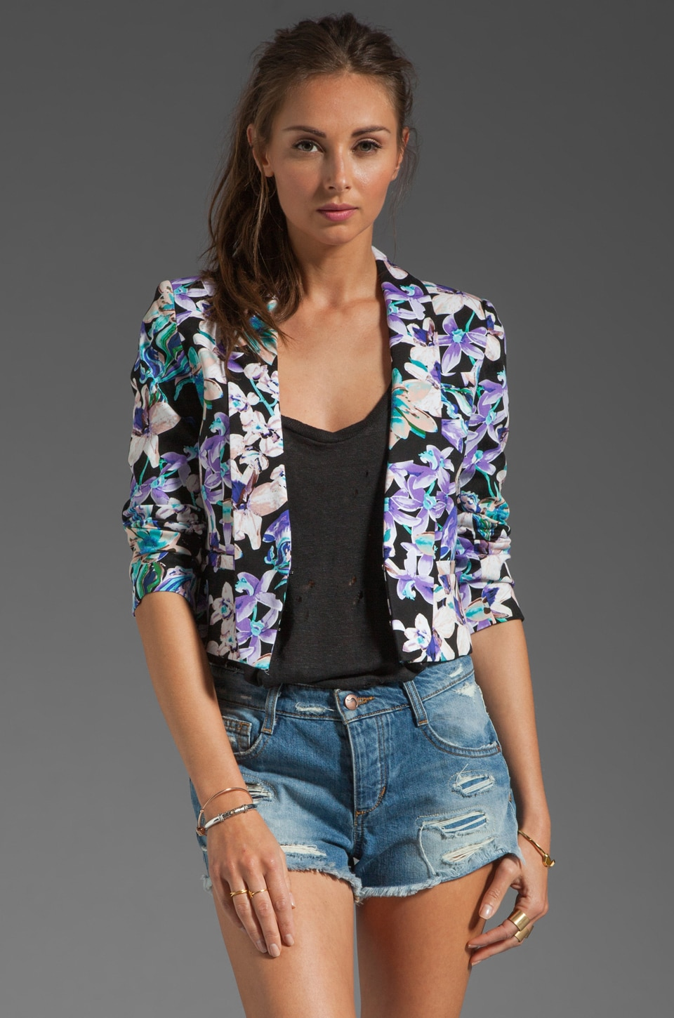 MM Couture by Miss Me Cropped Floral Print Jacket in Multi Print