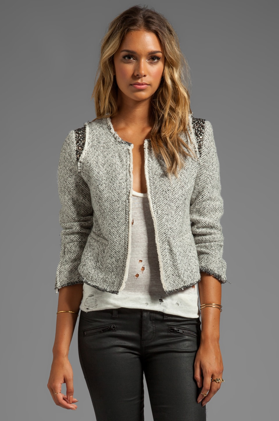 MM Couture by Miss Me Tweed Jacket w/ Beads in White