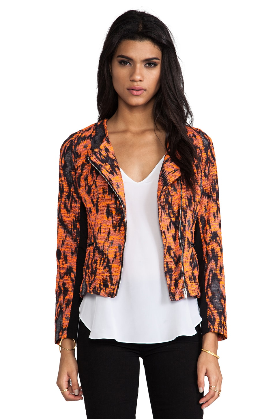 MM Couture by Miss Me Printed Jacket in Black & Orange