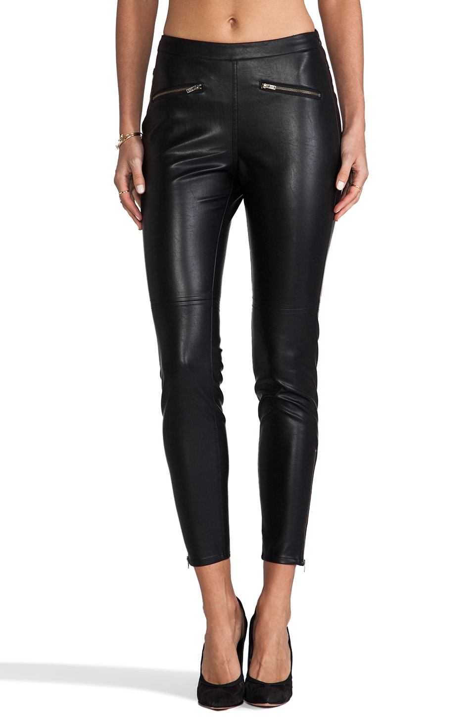 MM Couture by Miss Me Faux Leather Pants in Black