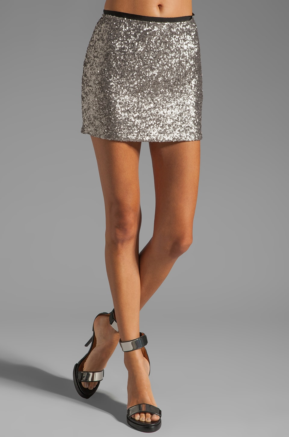 MM Couture by Miss Me Short Sequin Skirt in Silver