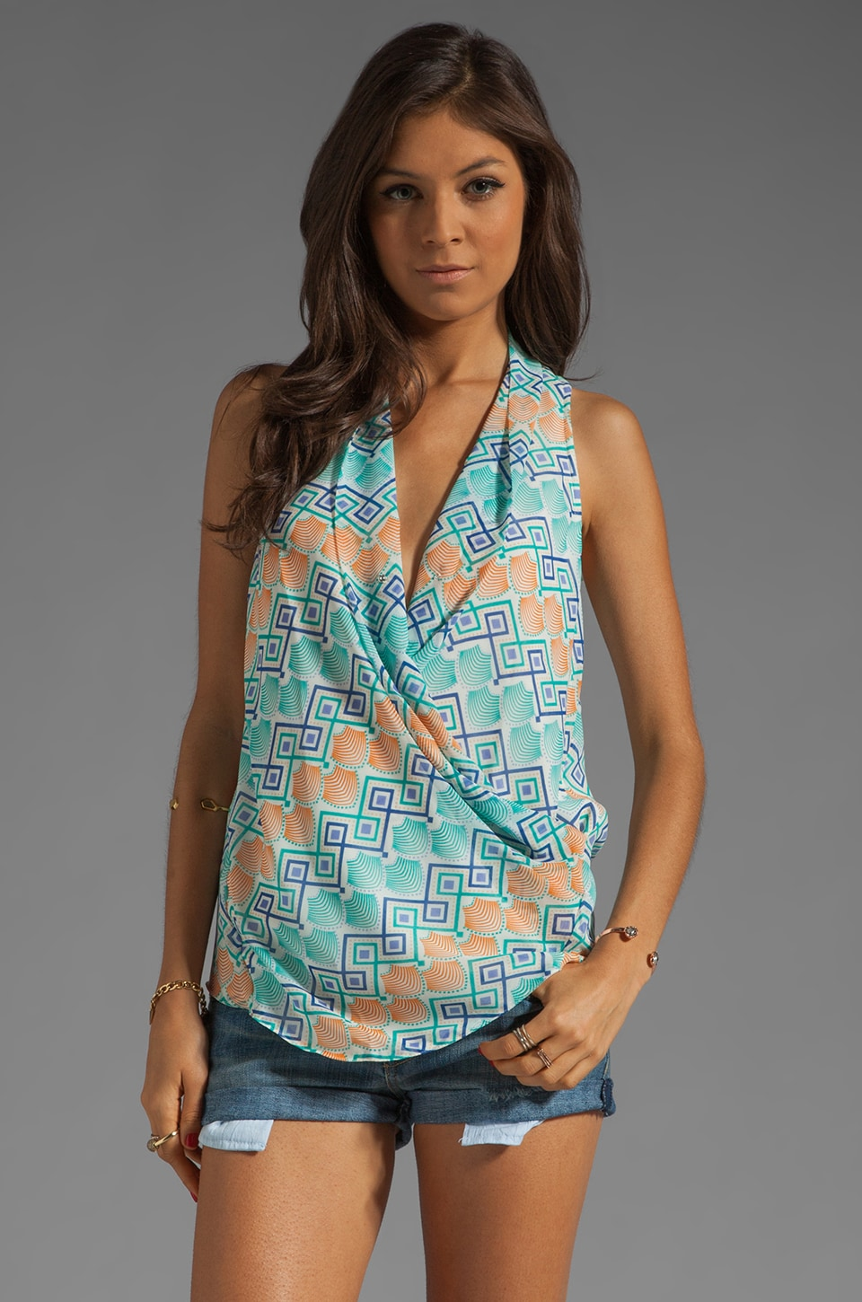 MM Couture by Miss Me Tank With Front Drape in Teal Print