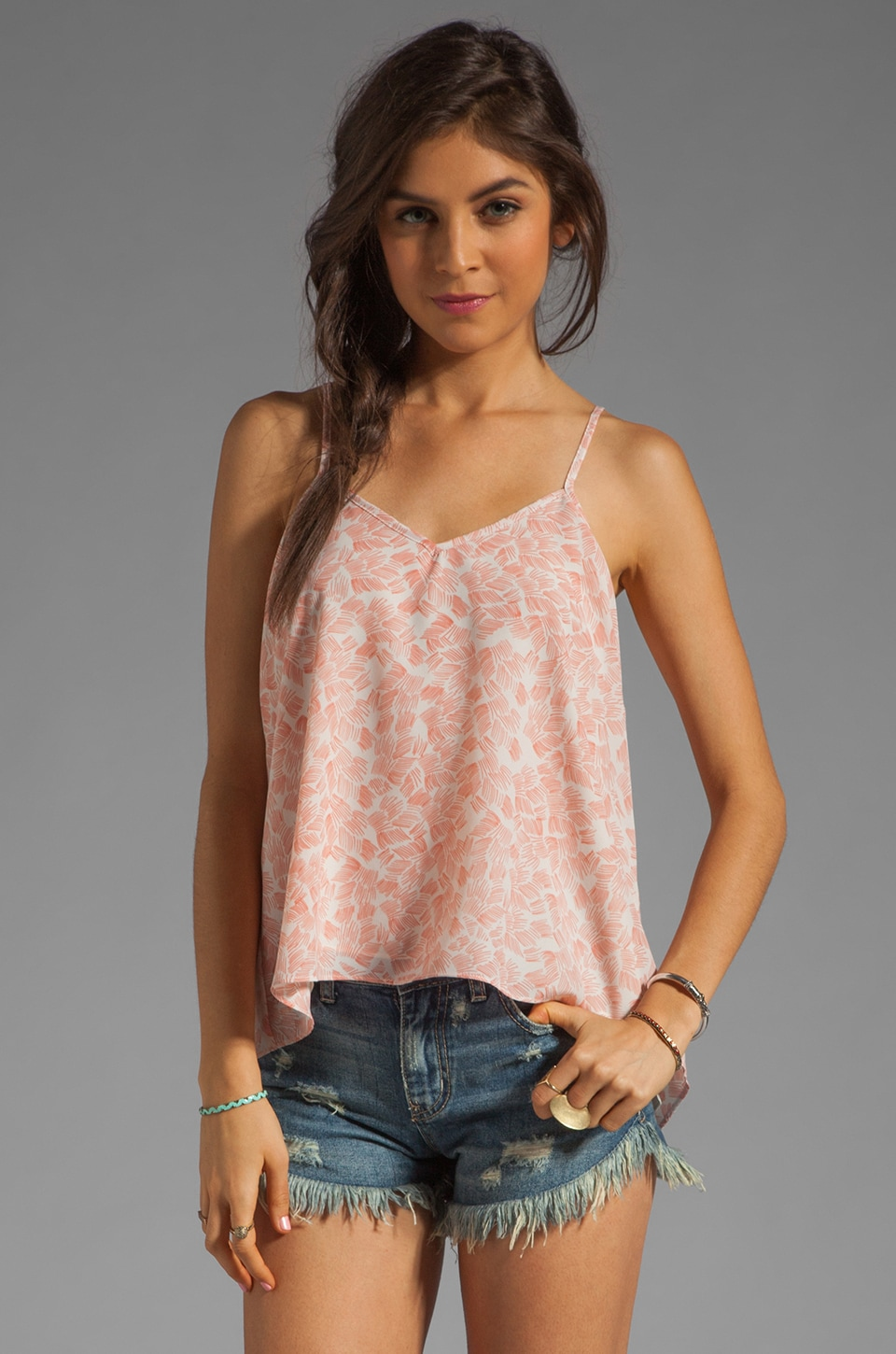 MM Couture by Miss Me Keyhole Tank in Pink Print