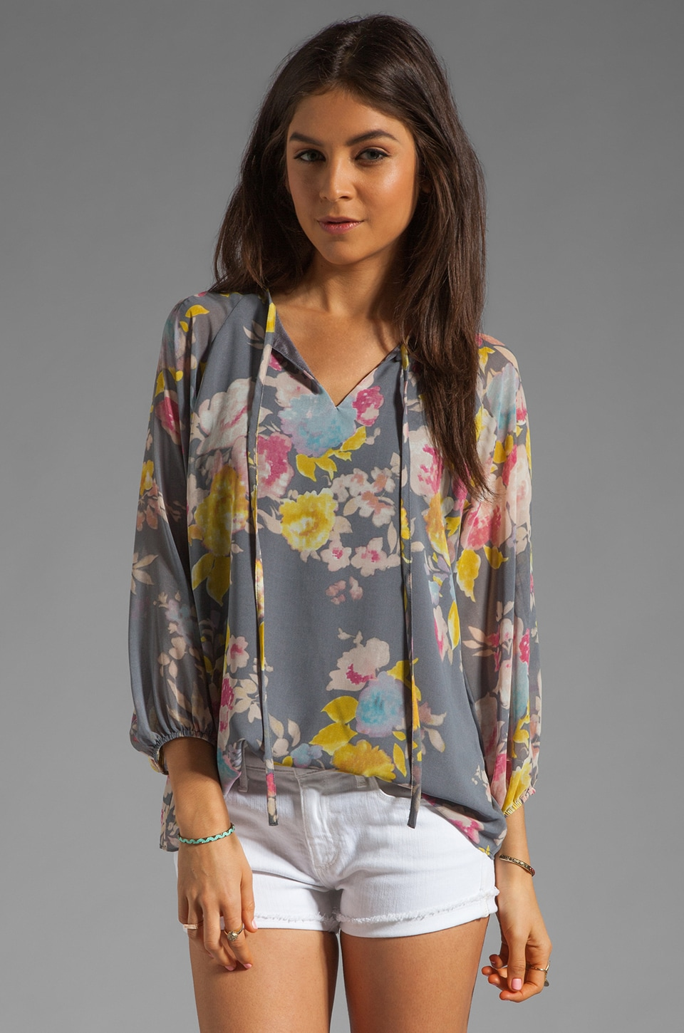 MM Couture by Miss Me 3/4 Sleeve Printed Top in Multi Print