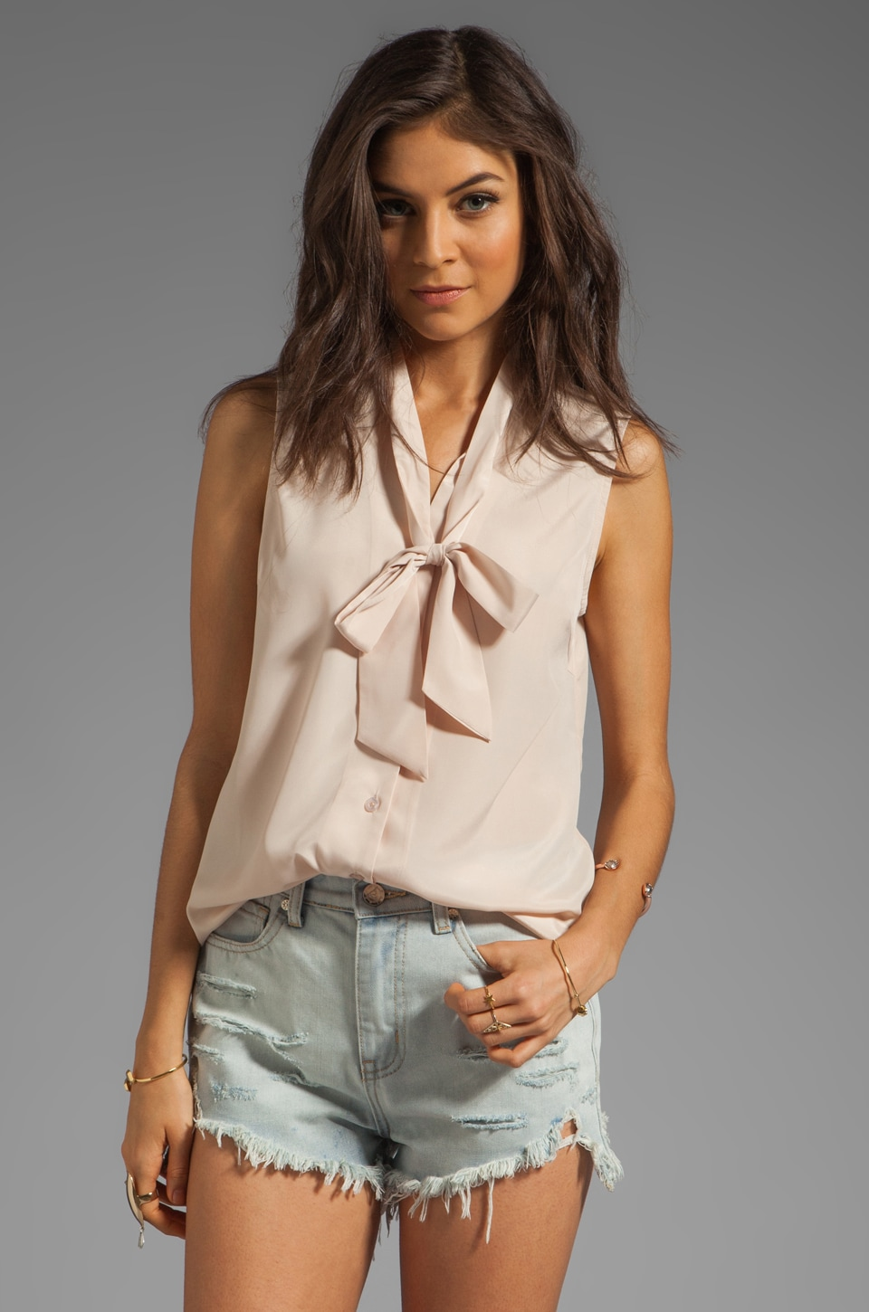 MM Couture by Miss Me Button Down Tank with Tie in Beige