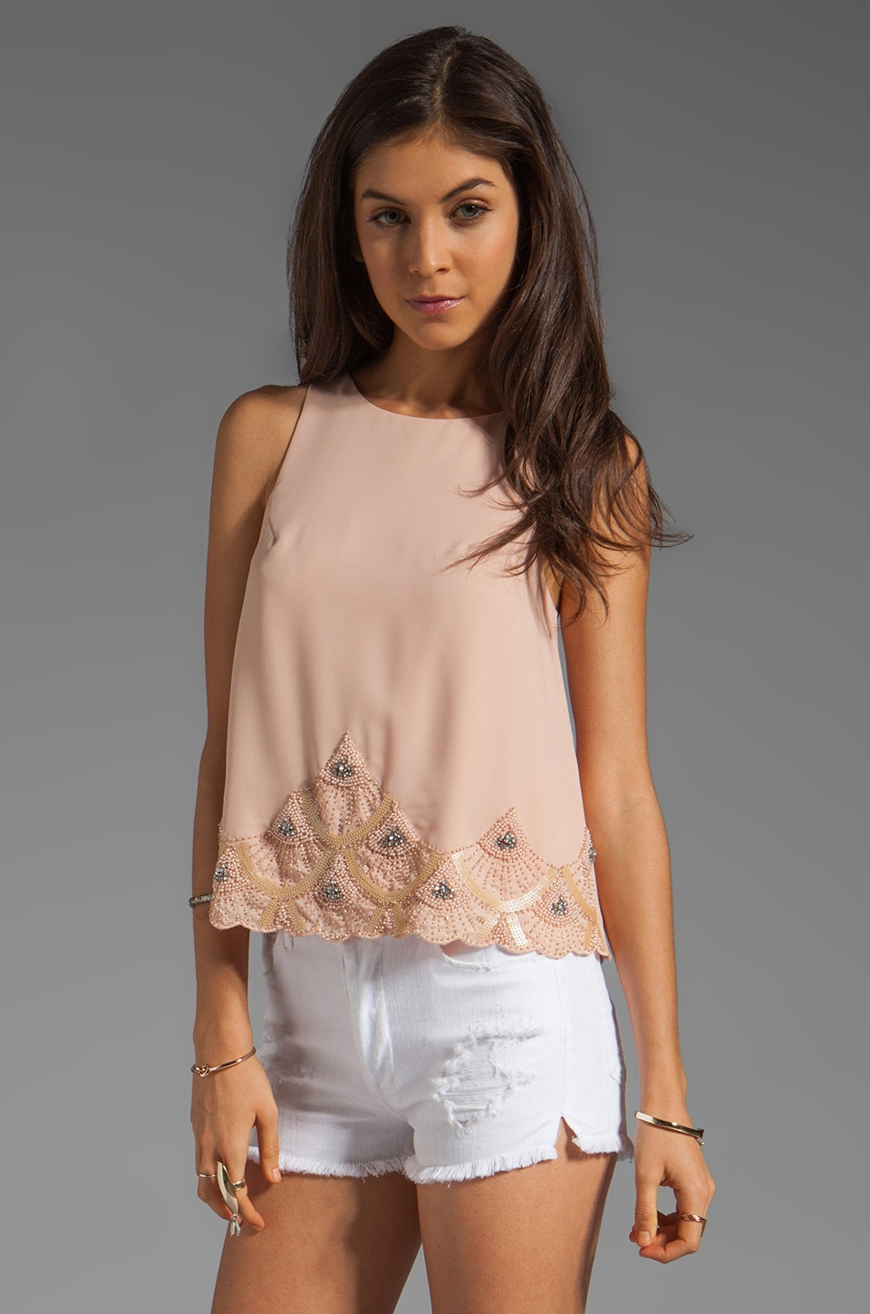 MM Couture by Miss Me Tank With Beading in Peach