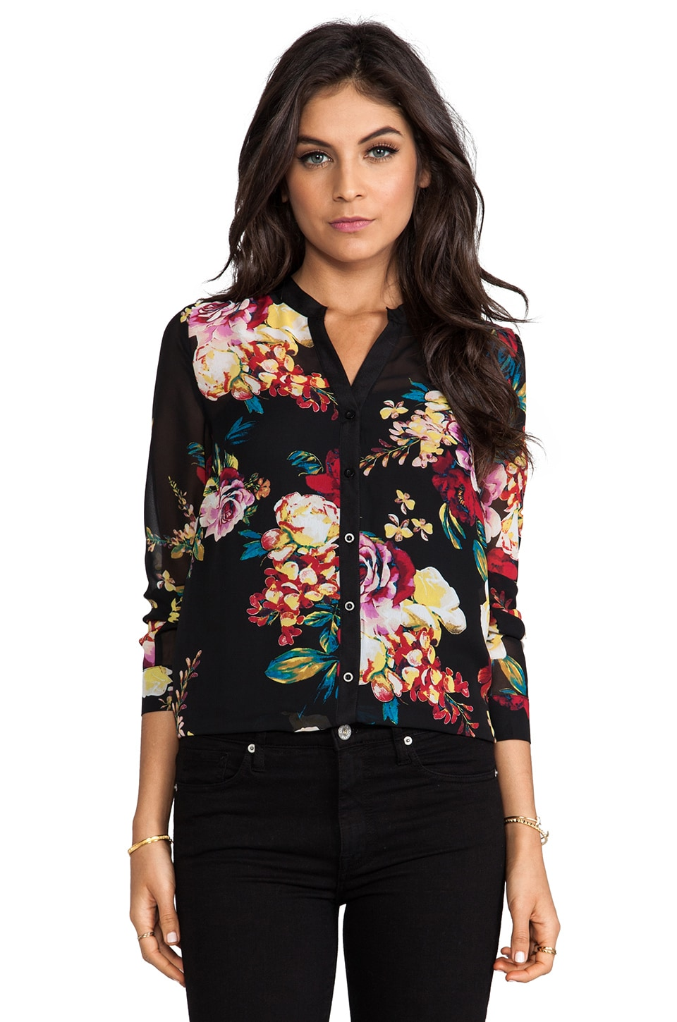 MM Couture by Miss Me Button Down Top in Multi Print