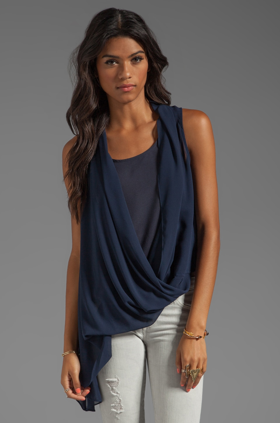 MM Couture by Miss Me Asymmetrical Drape Tank in Navy