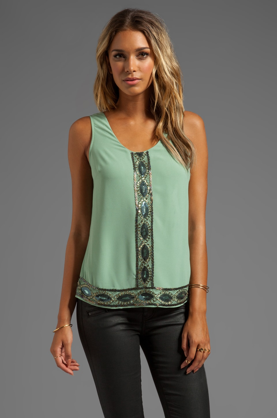 MM Couture by Miss Me Tank w/ Front Bead & Back Drape in Mint