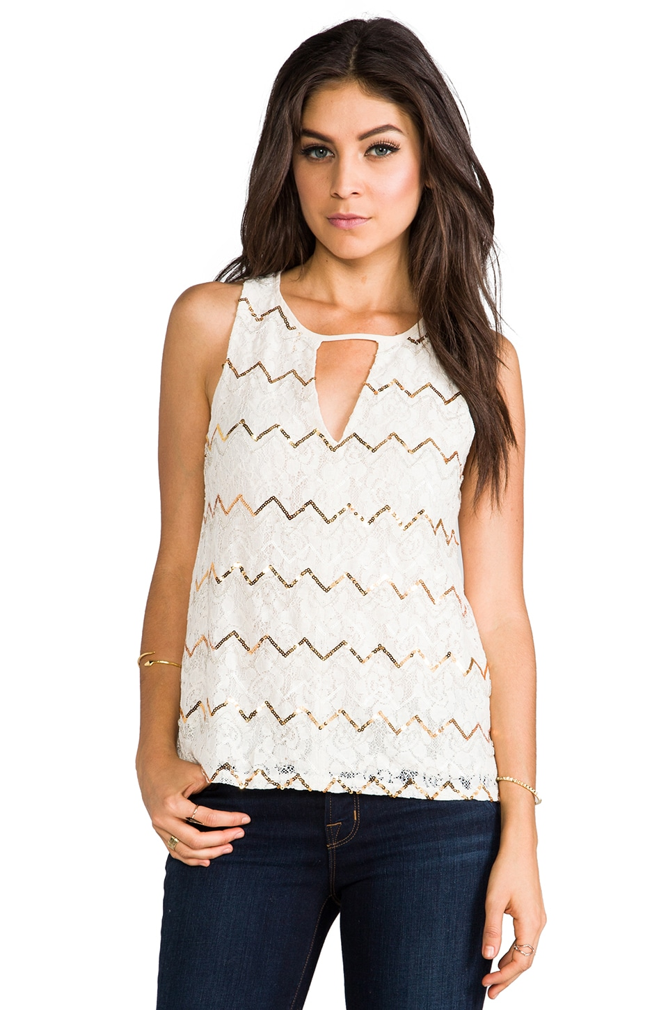 MM Couture by Miss Me Keyhole Front Tank in Ivory