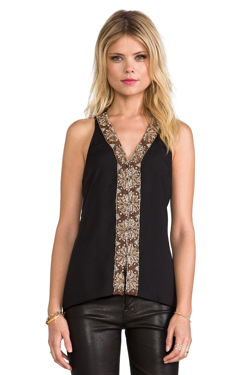 MM Couture by Miss Me Beaded Center Tank in Black