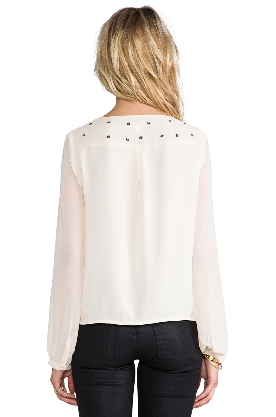 MM Couture by Miss Me Studded Drape Blouse in Beige
