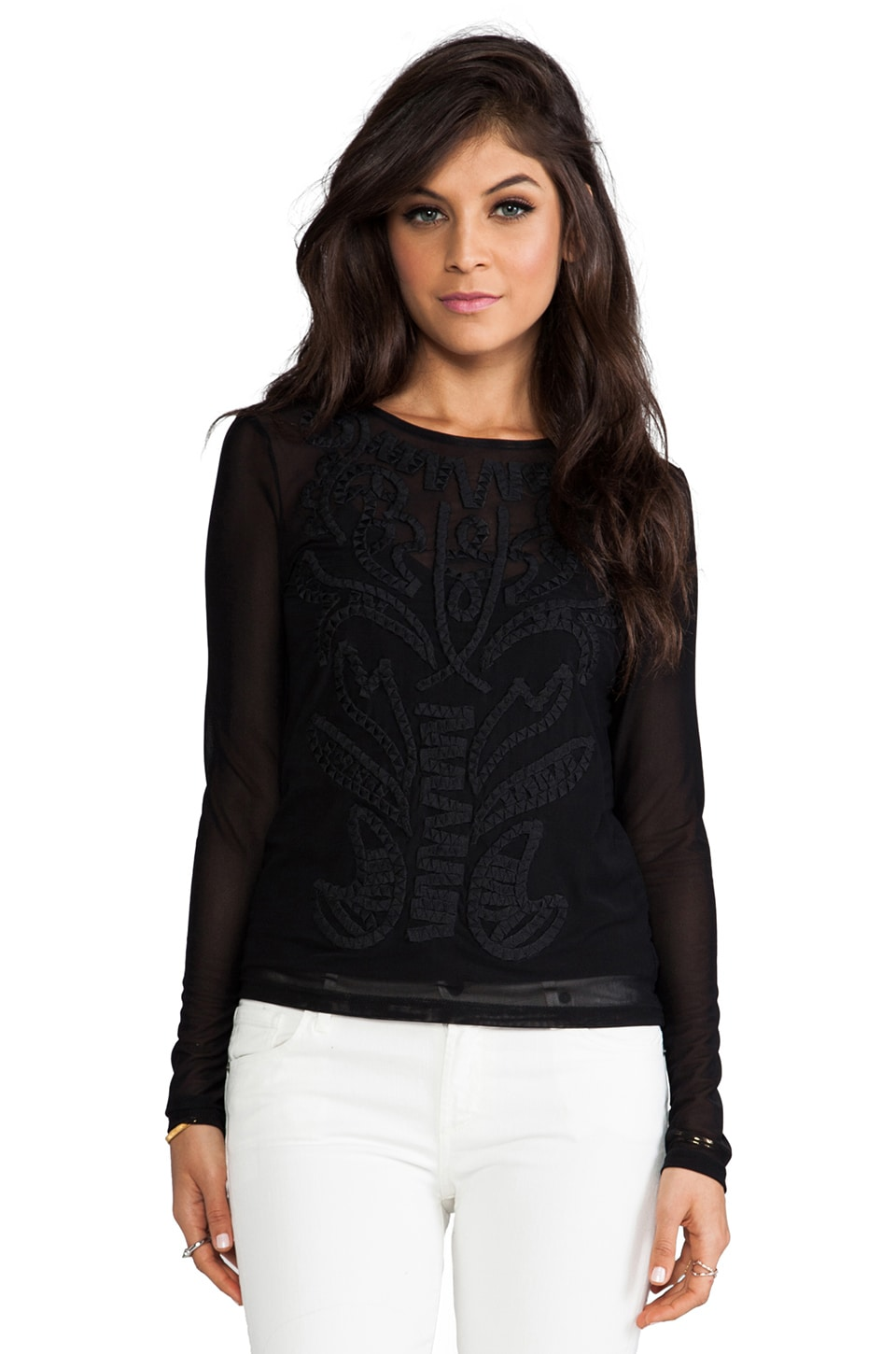 MM Couture by Miss Me Embroidered Long Sleeve Top in Black