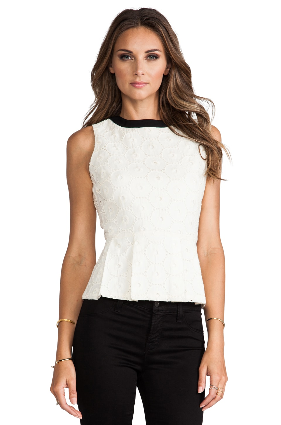 MM Couture by Miss Me Eyelet Tank in White