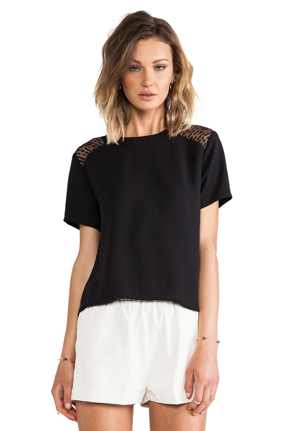 MM Couture by Miss Me Short Sleeve Shirt in Black