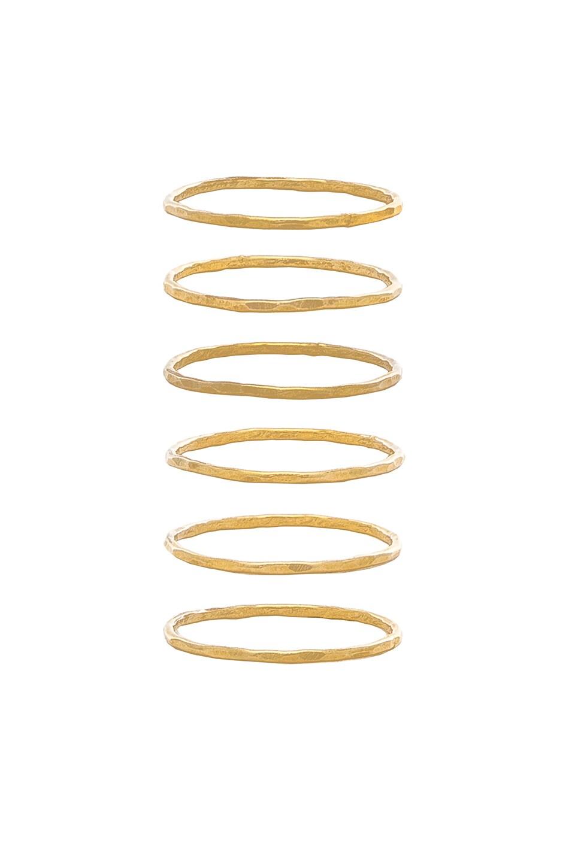 MIMI & LU Stackable 6 Ring Set in Metallic Gold