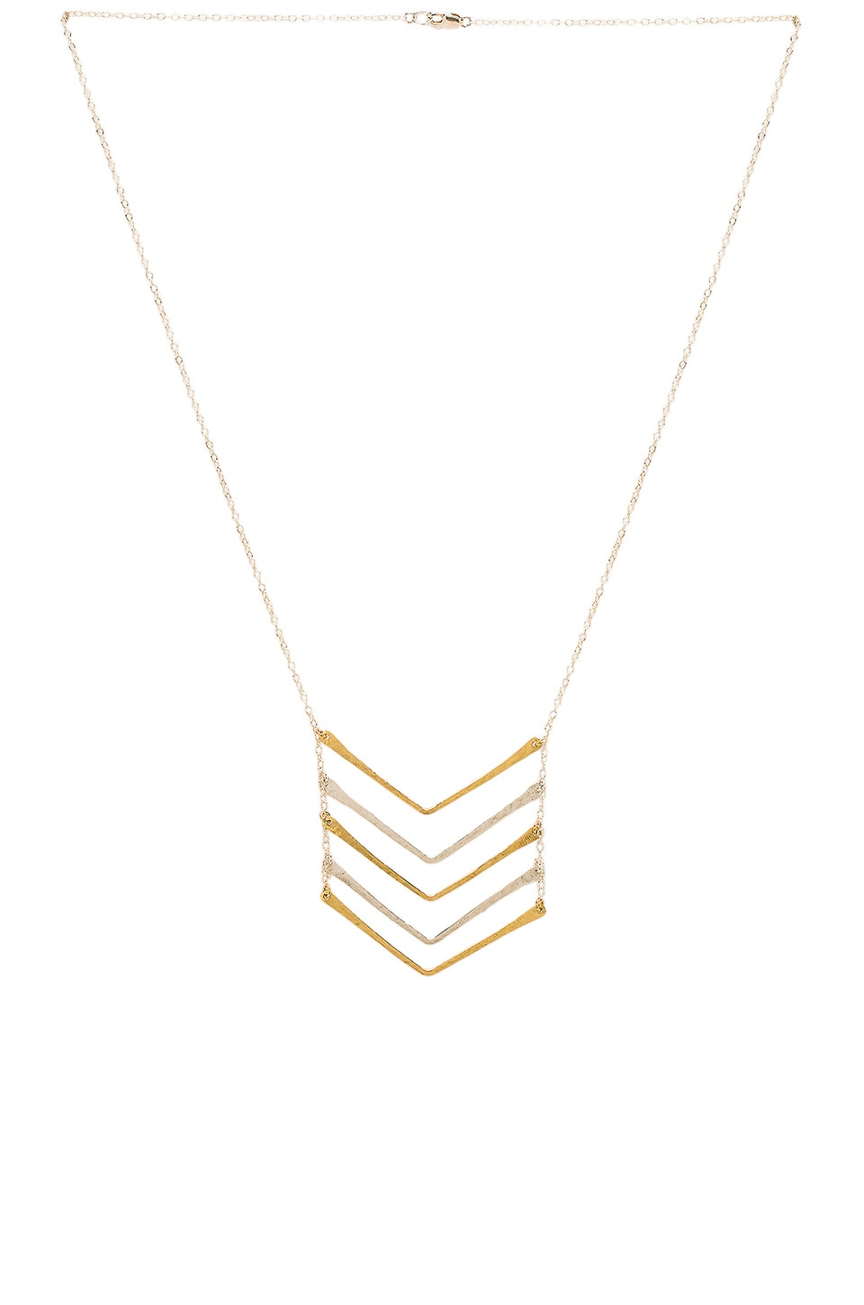 Mimi & Lu Chevron Five Bar Chevron Necklace in Silver & Gold