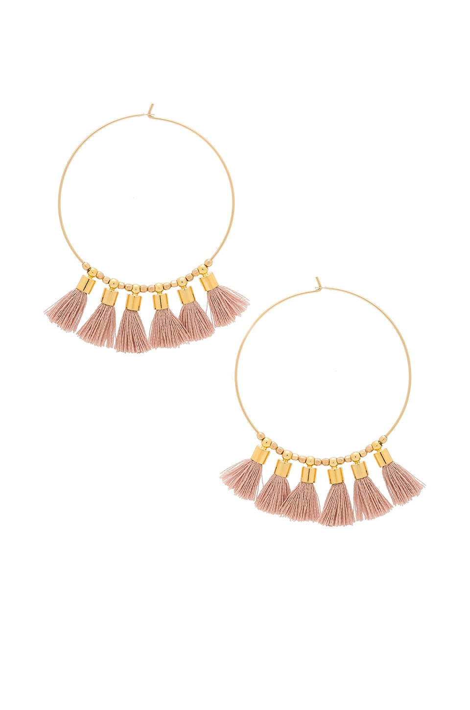 Mimi & Lu Sonia Tassel Earrings in Mauve