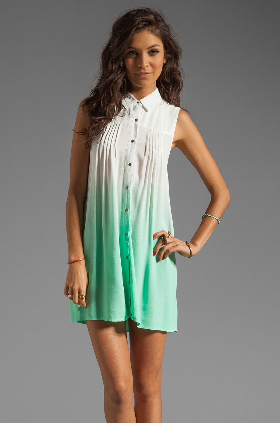 MINKPINK Great White Ombre Shirt Dress in Aqua