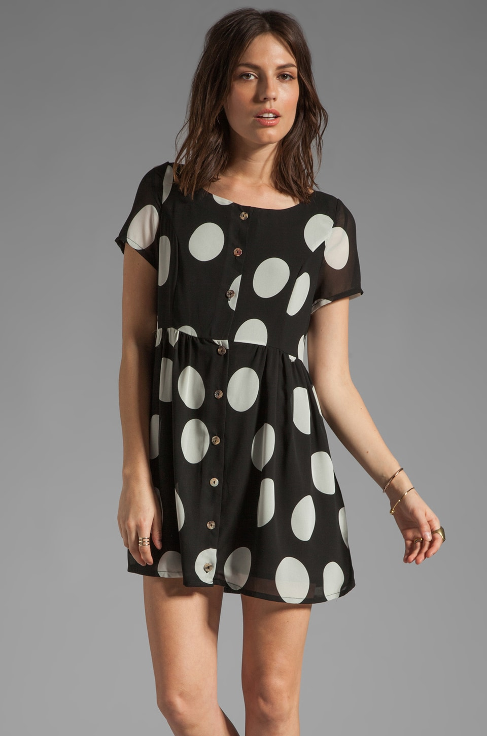 MINKPINK Clowning Around Babydoll Dress in Black/White