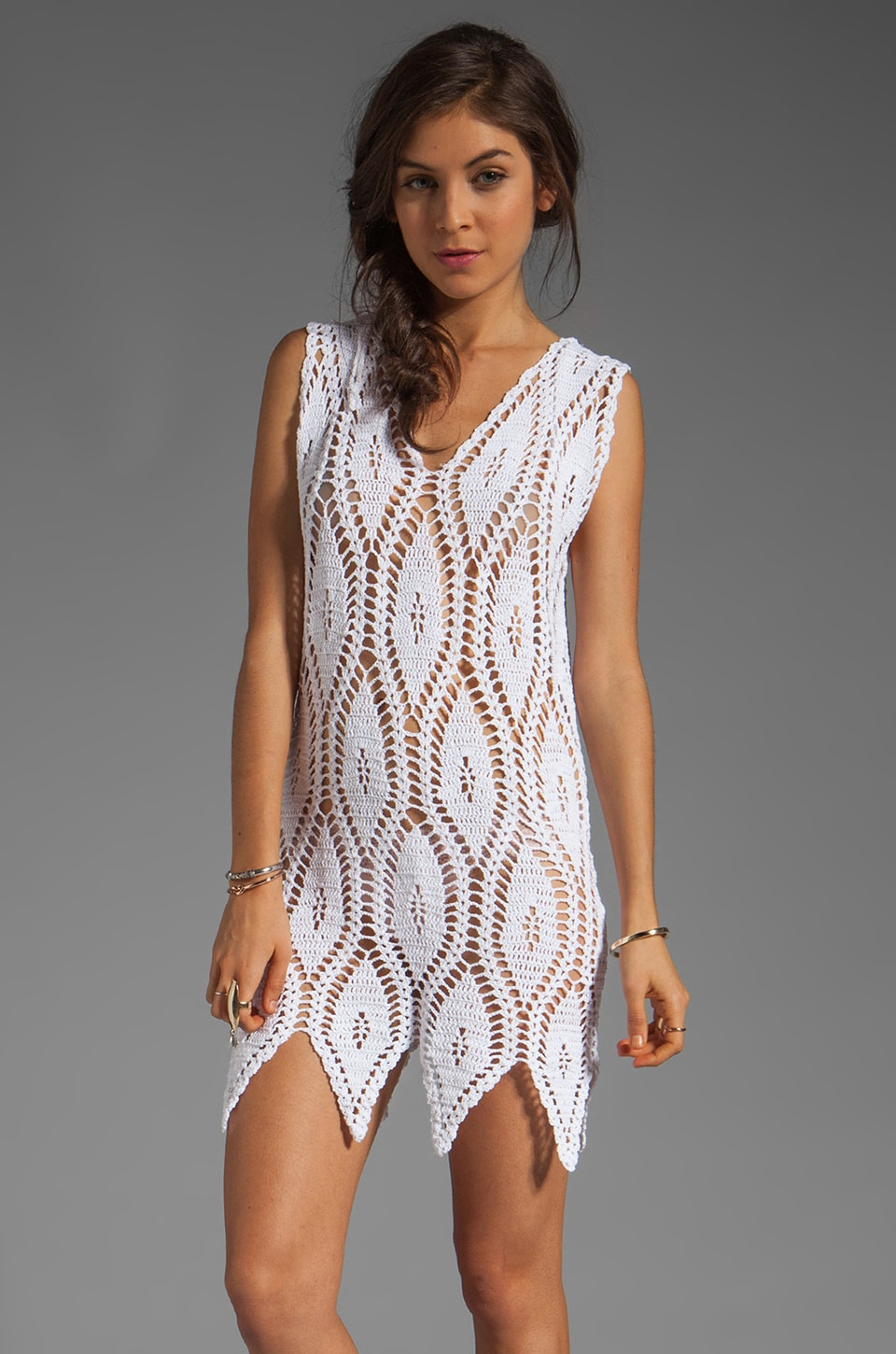 MINKPINK Anina Crochet Beach Dress in Cream