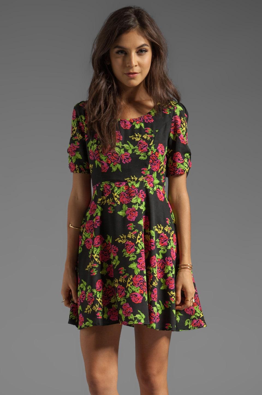 MINKPINK Queen of Hearts Short Sleeve Dress in Multi