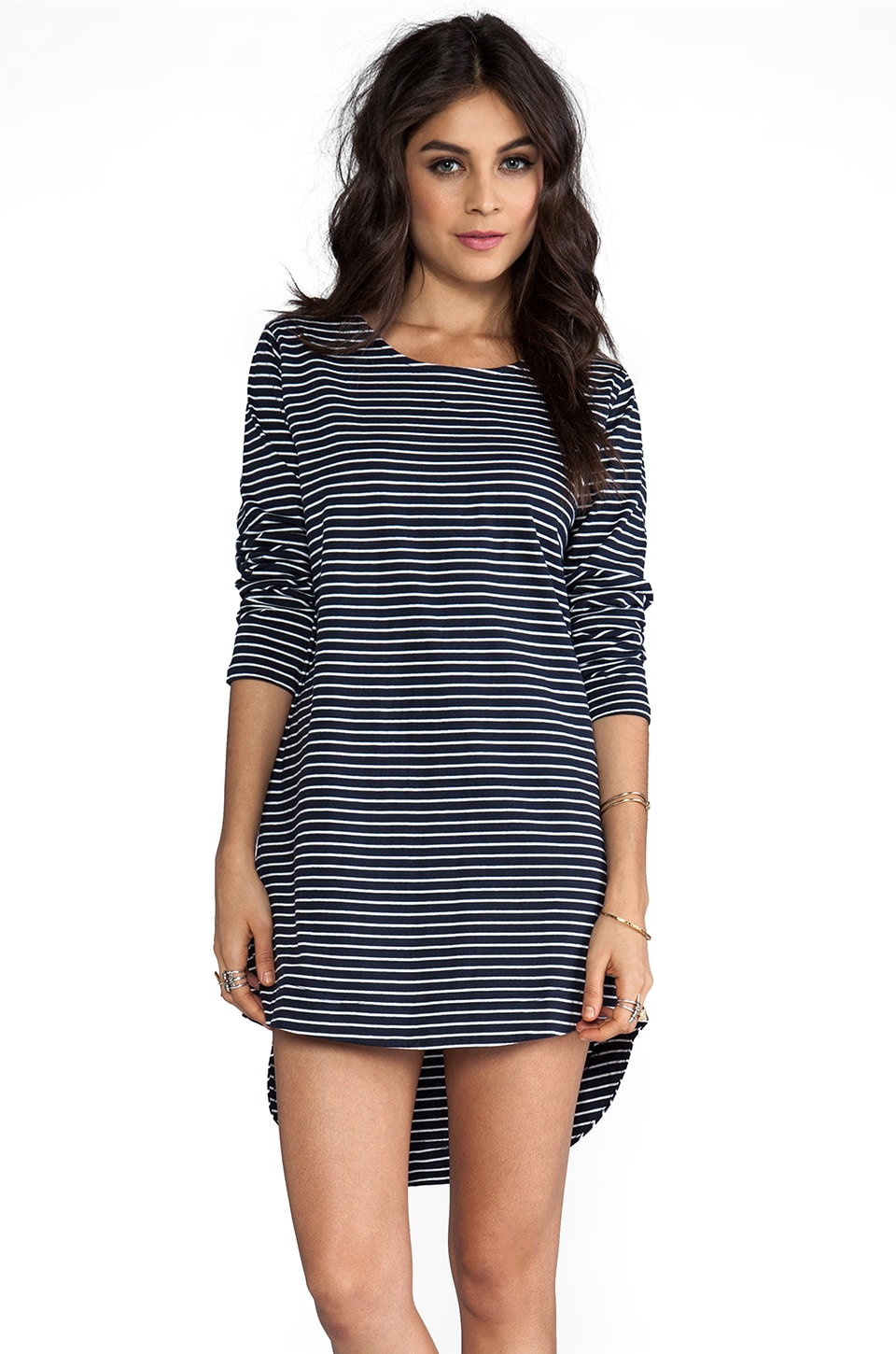 MINKPINK Tres Chic Stiped Long Sleeve Dress in Navy/Cream