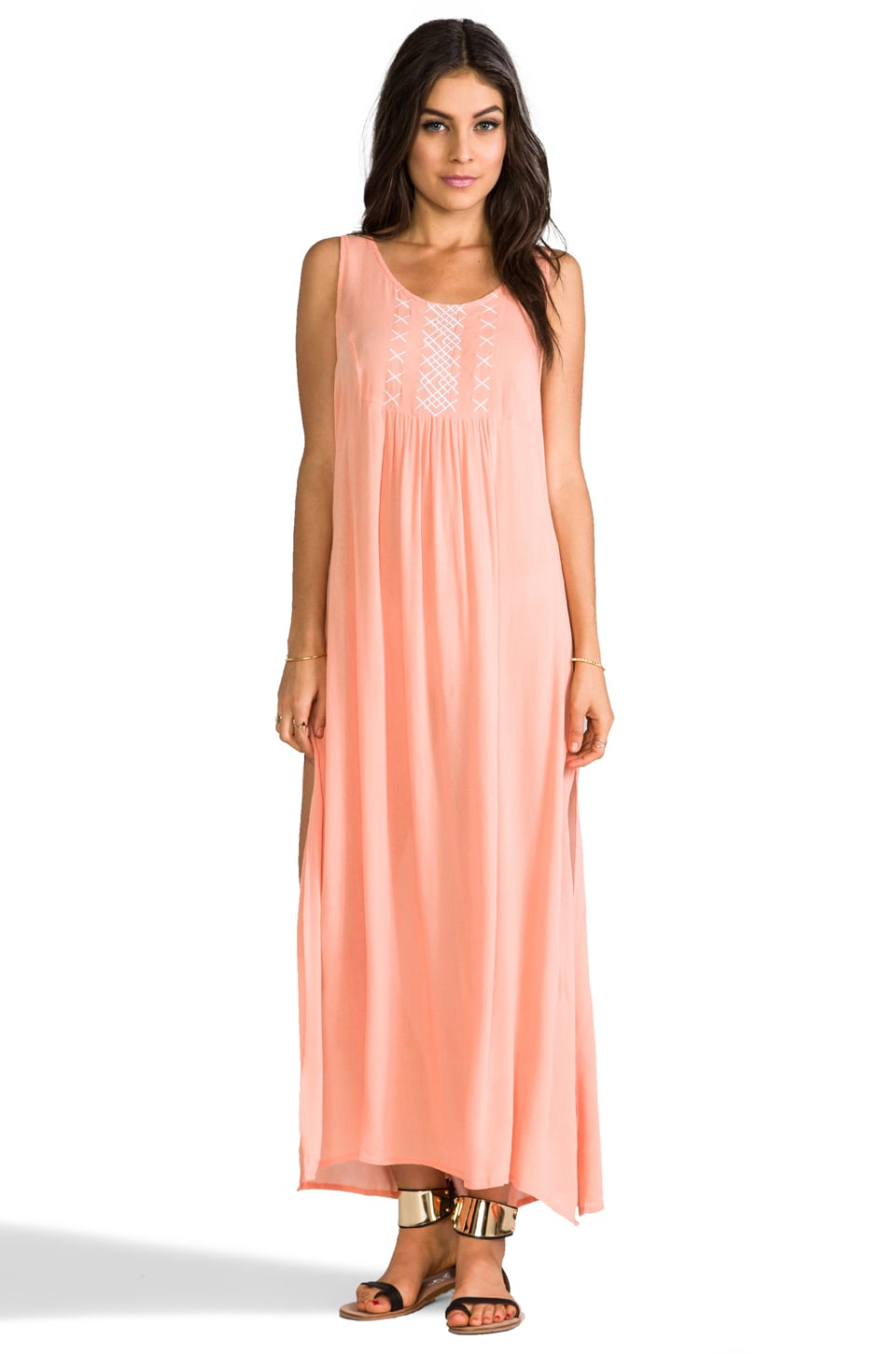 MINKPINK Cross My Heart Maxi Dress in Peach