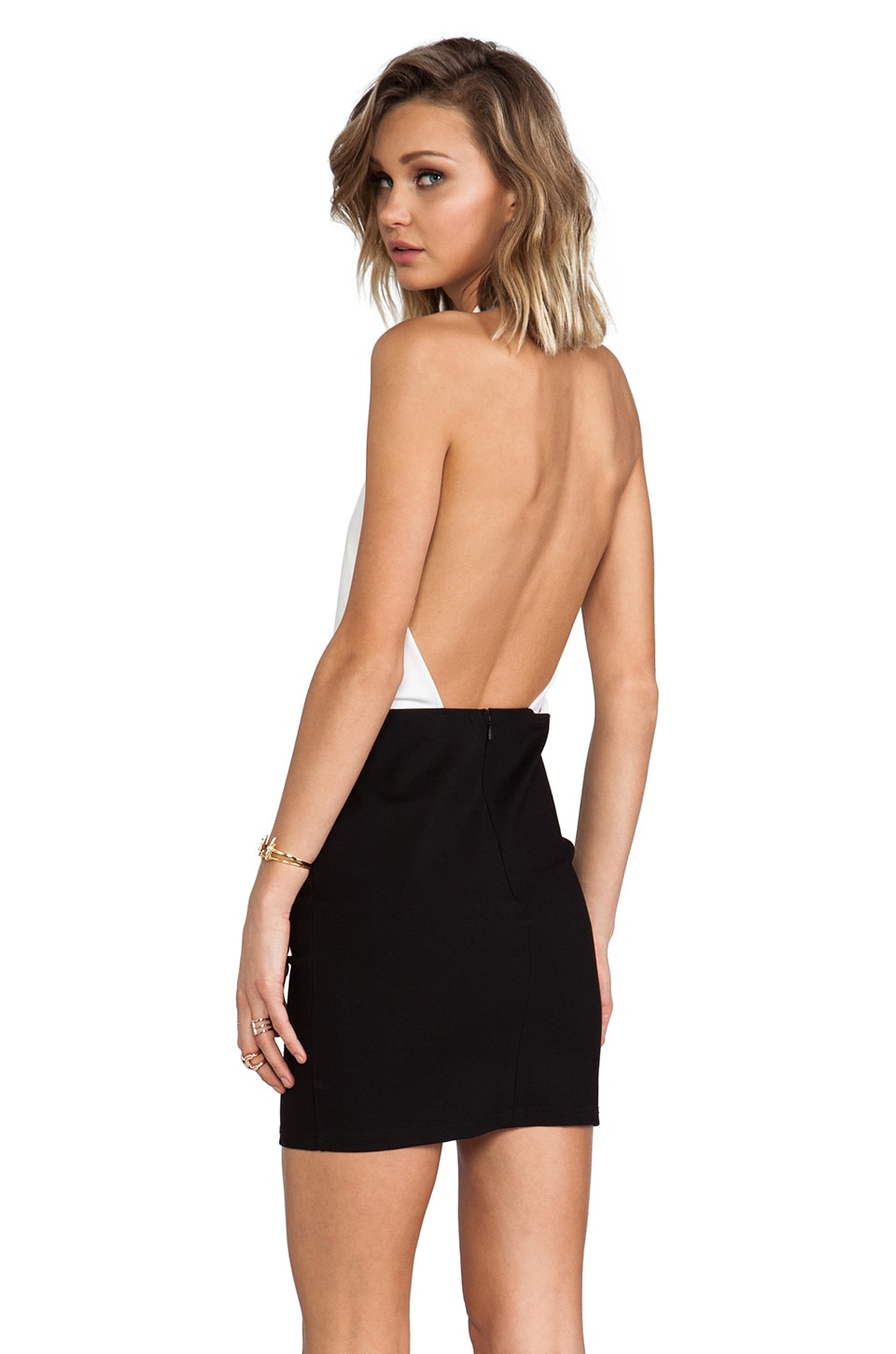 MINKPINK House Of Cards Dress in Black & White