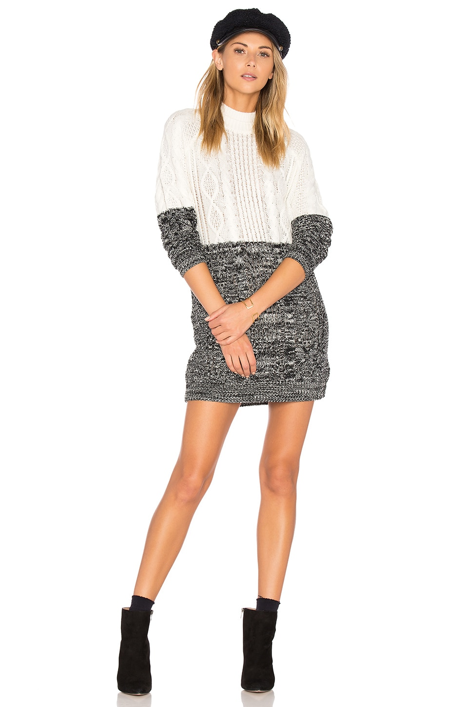 MINKPINK Two Faced Mixed Knit Dress in Multi