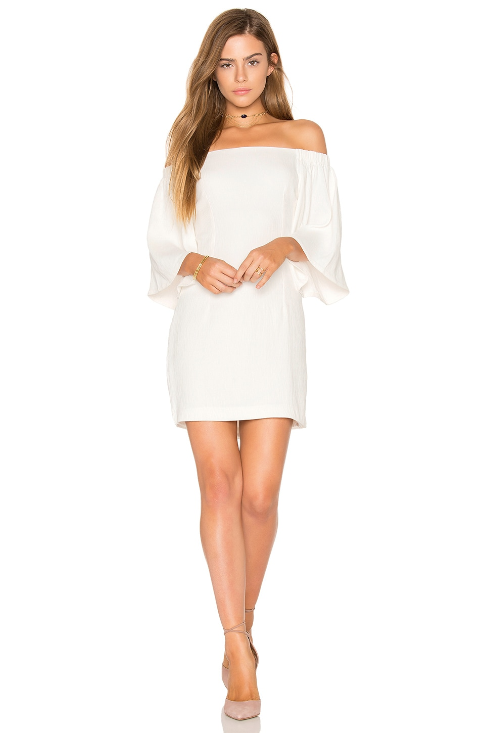 MINKPINK Uptown Off Shoulder Dress in Off White