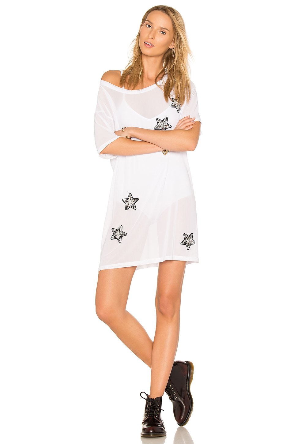 MINKPINK X REVOLVE Stars & Mesh Tee Dress in White
