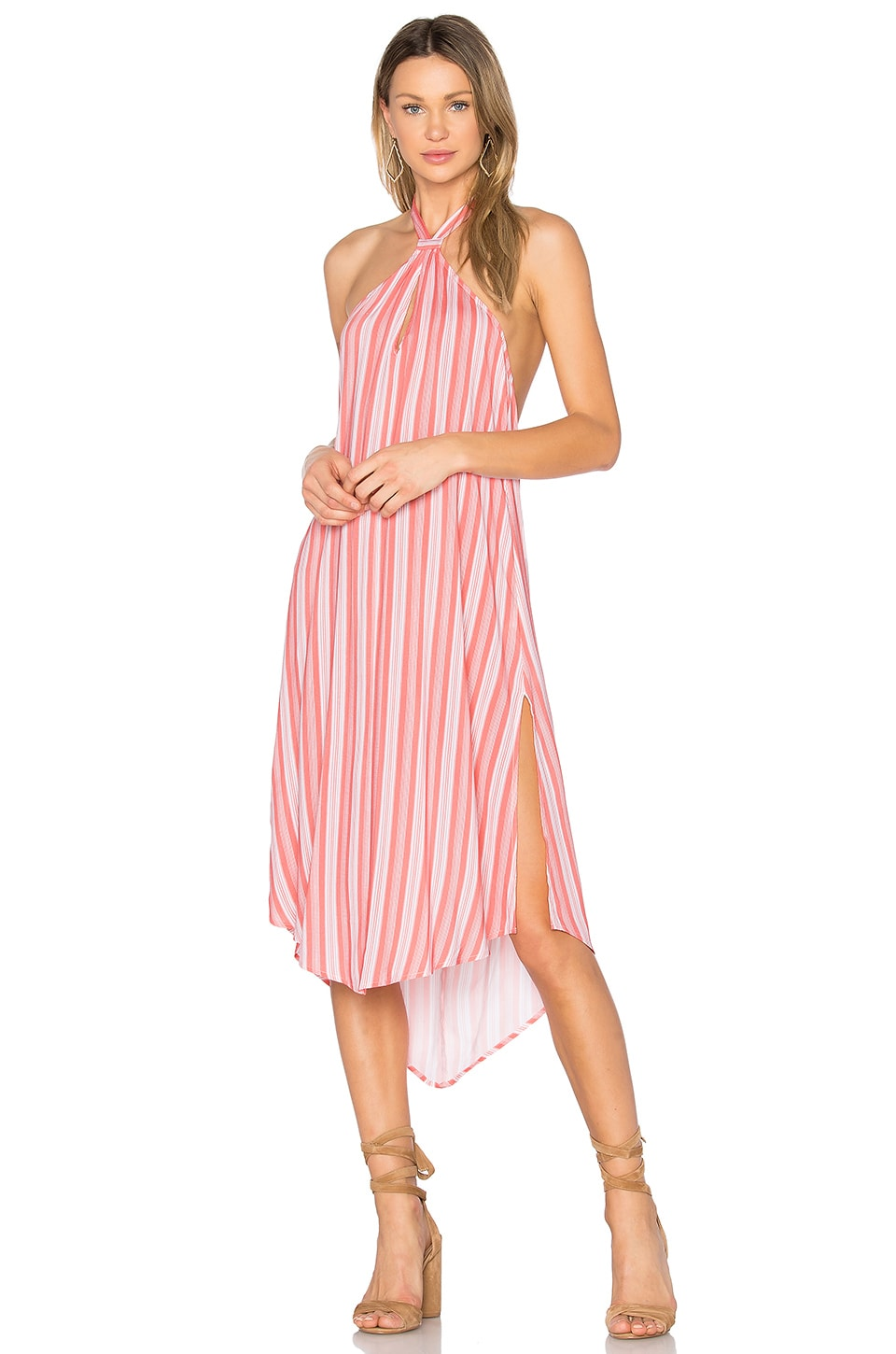 MINKPINK Haiti Halter Dress in Coral Stripe
