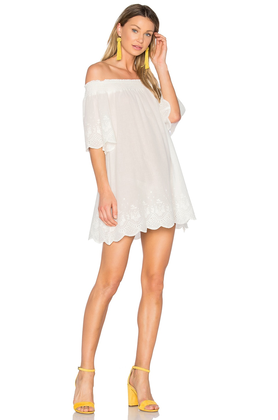 MINKPINK Athena Broderie Anglais Off Shoulder Dress in Cream