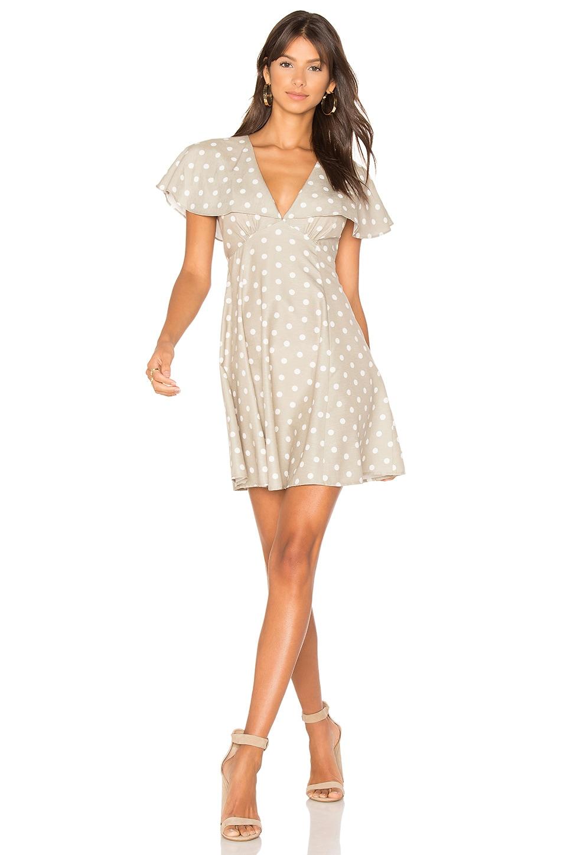 MINKPINK Olive Olive Splot Cape Dress