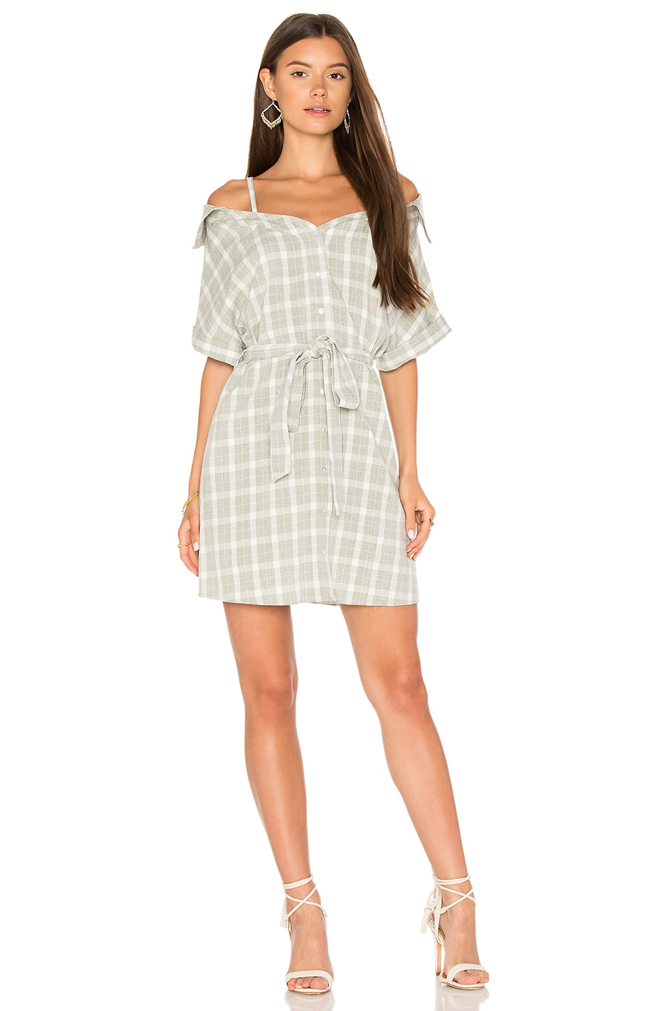 2ddbd7ba1d8c5 MINKPINK Gingham Off Shoulder Shirt Dress in Grey