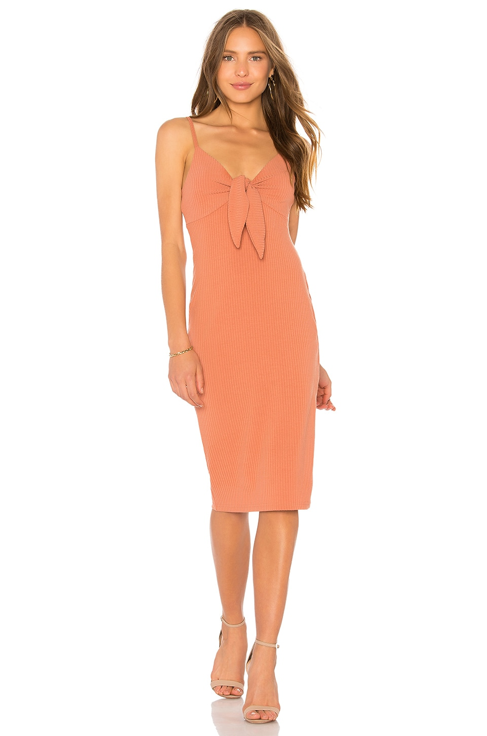 MINKPINK Andalusia Tie Front Dress in Masala