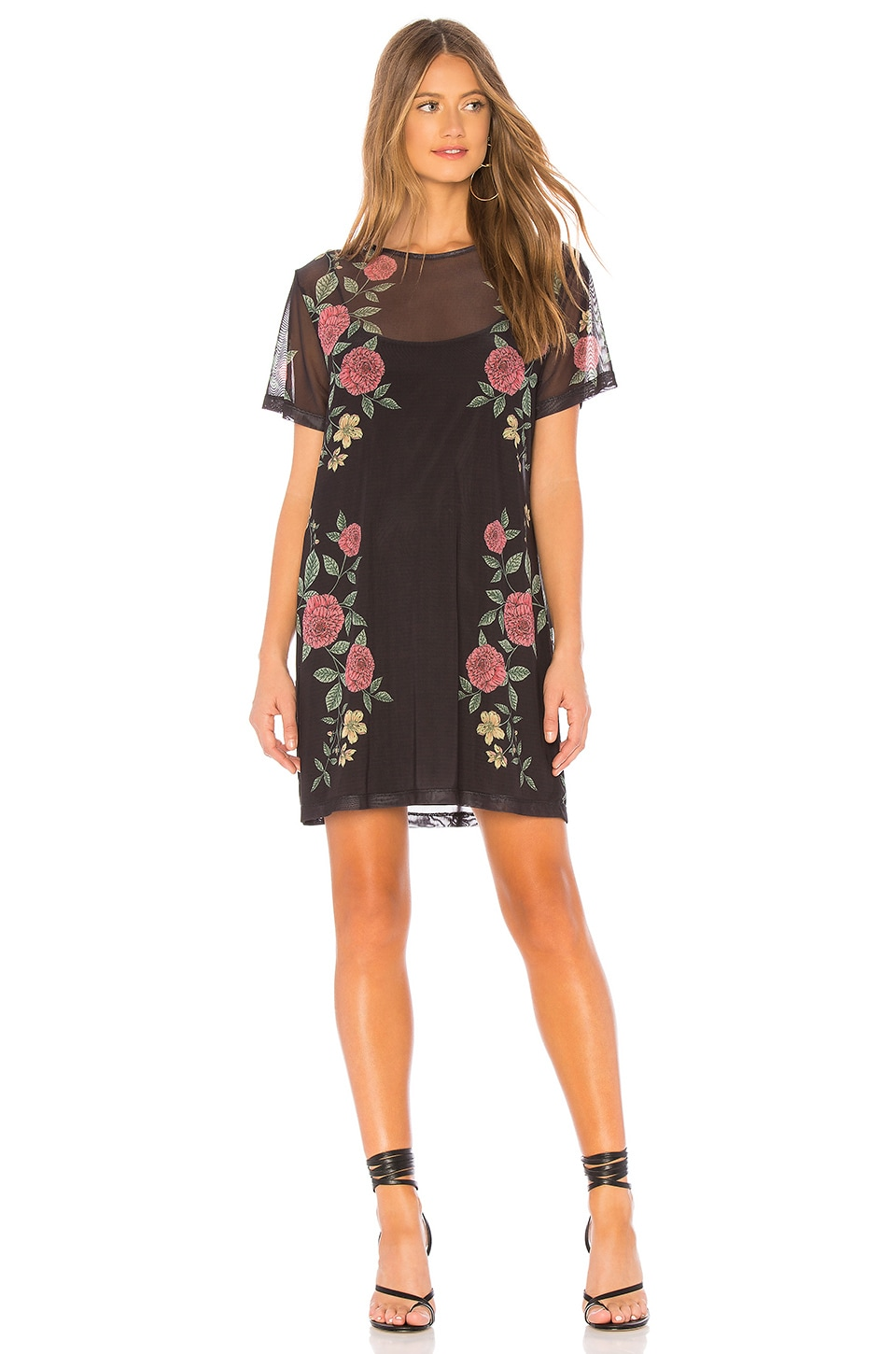 MINKPINK Night Rose Mesh Tee Dress in Multi