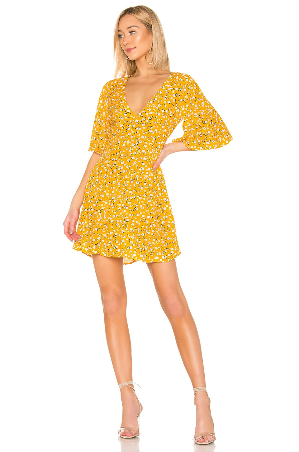 MINKPINK Summer Daisy Tea Dress in Golden Yellow