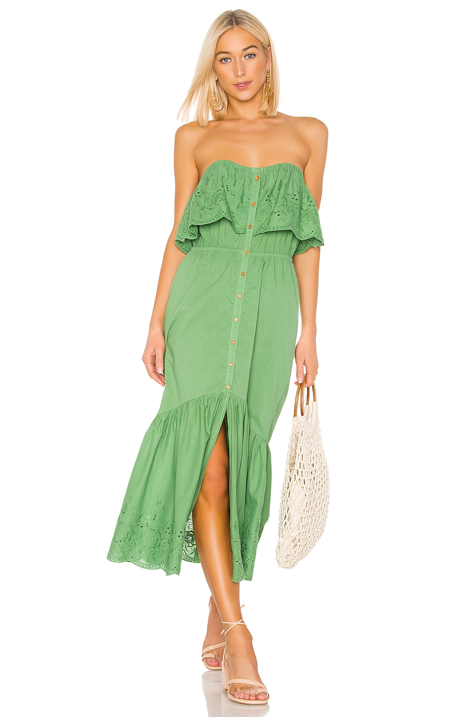 MINKPINK Purity Strapless Midi Dress in Greenery