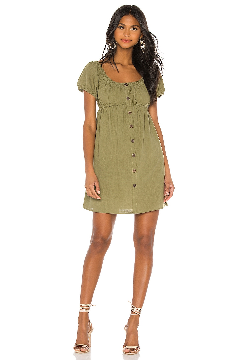 MINKPINK Linen Puff Mini Dress in Khaki