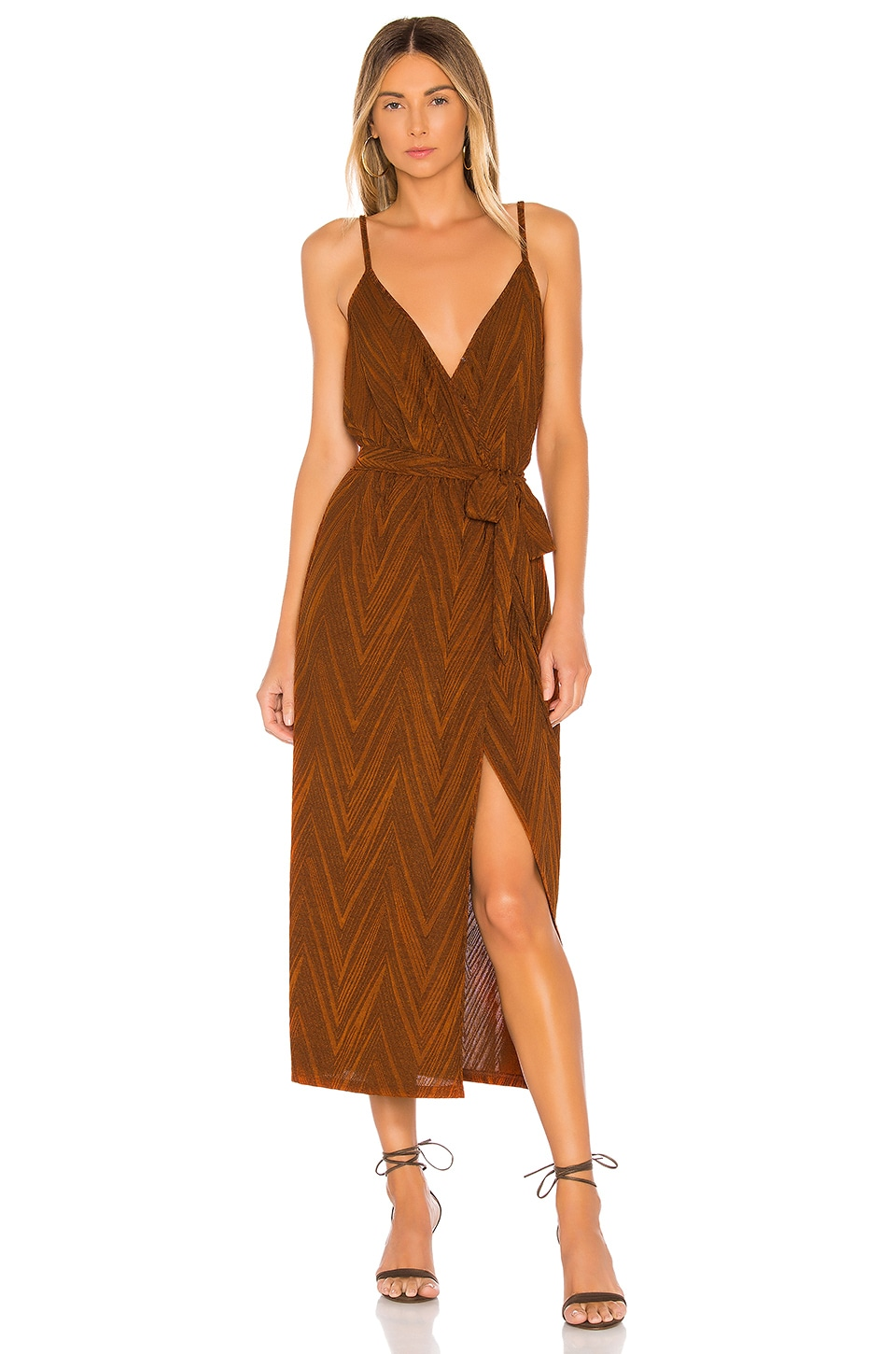 MINKPINK Strappy Wrap Dress in Burnt Orange