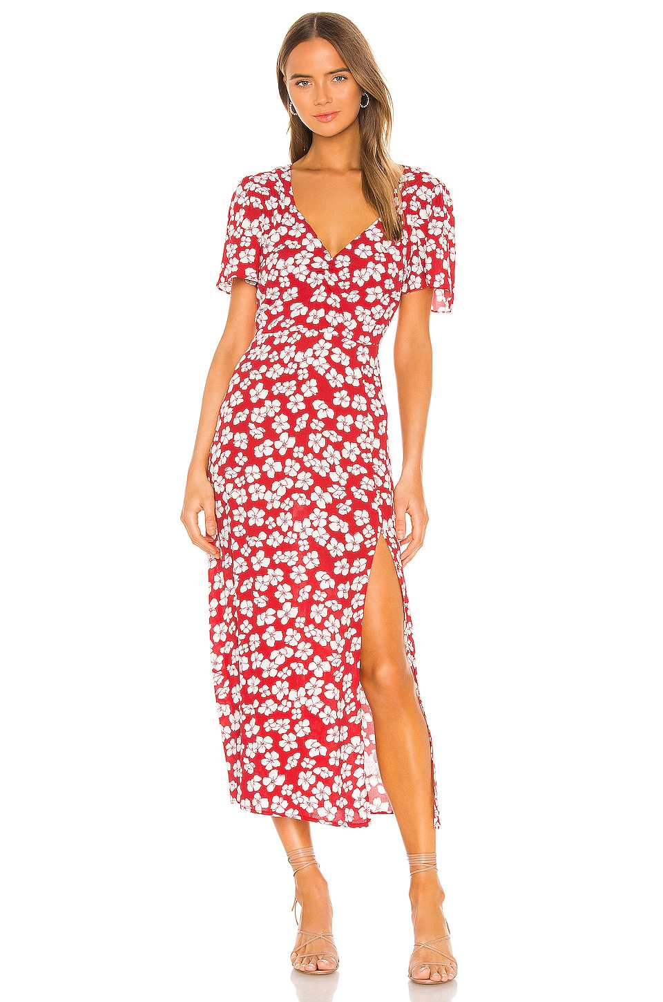 MINKPINK Between You And I Midi Dress in Red & White