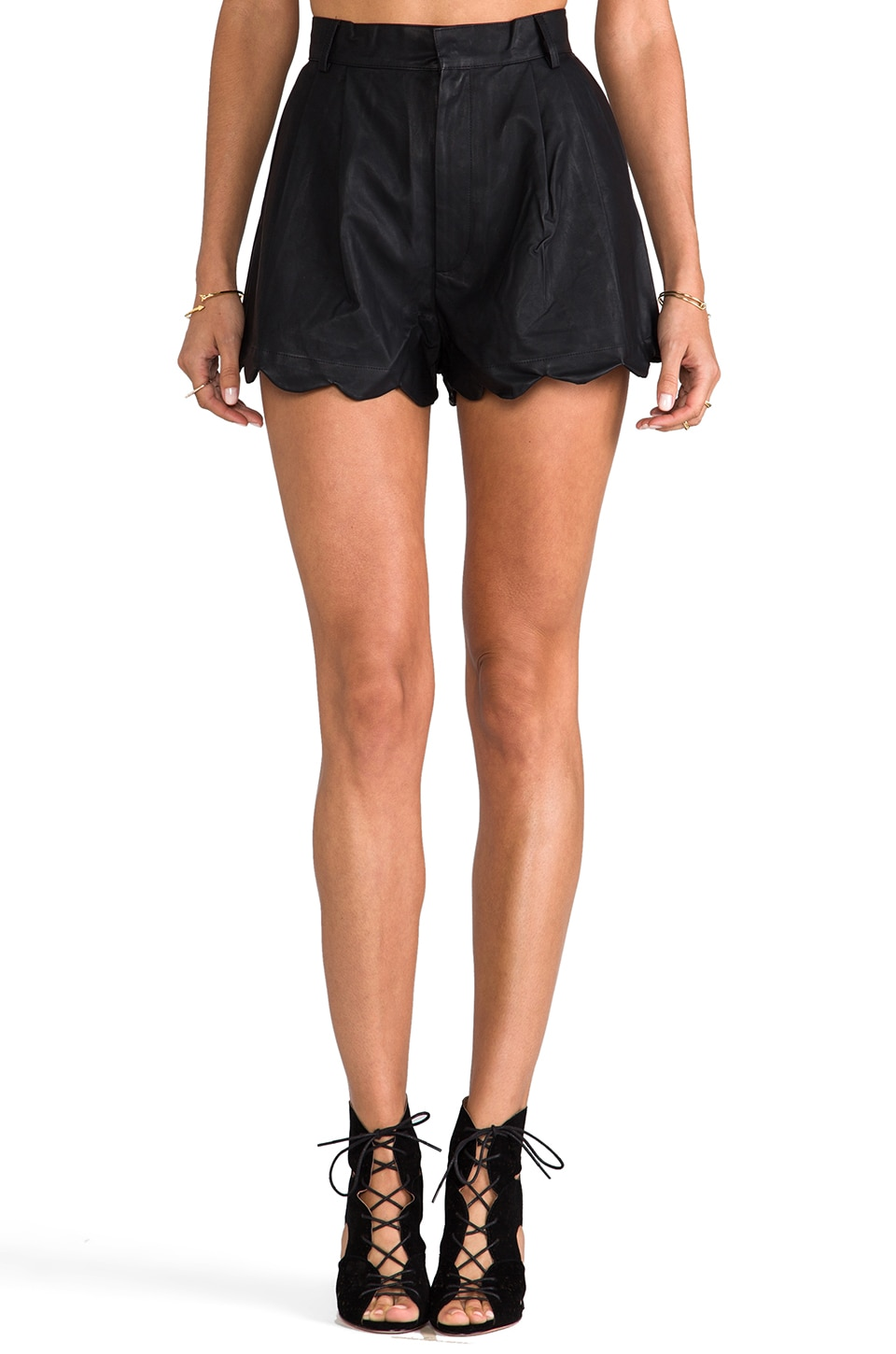 MINKPINK Sport Luxe High Waisted Scalloped Short in Black