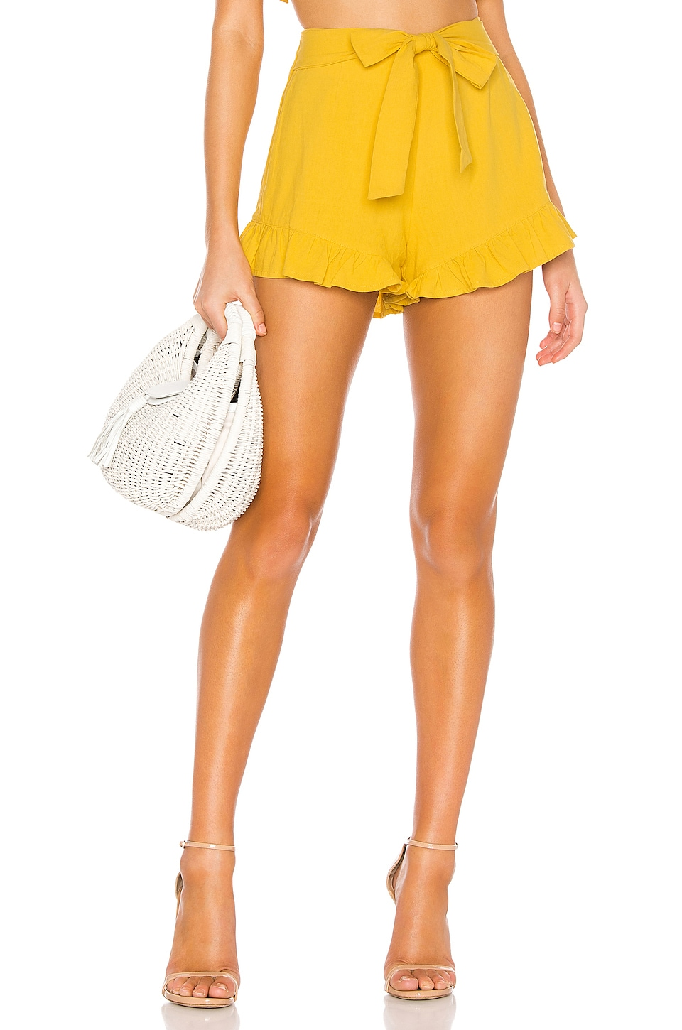 MINKPINK Camille Tie Front Frill Short in Yellow