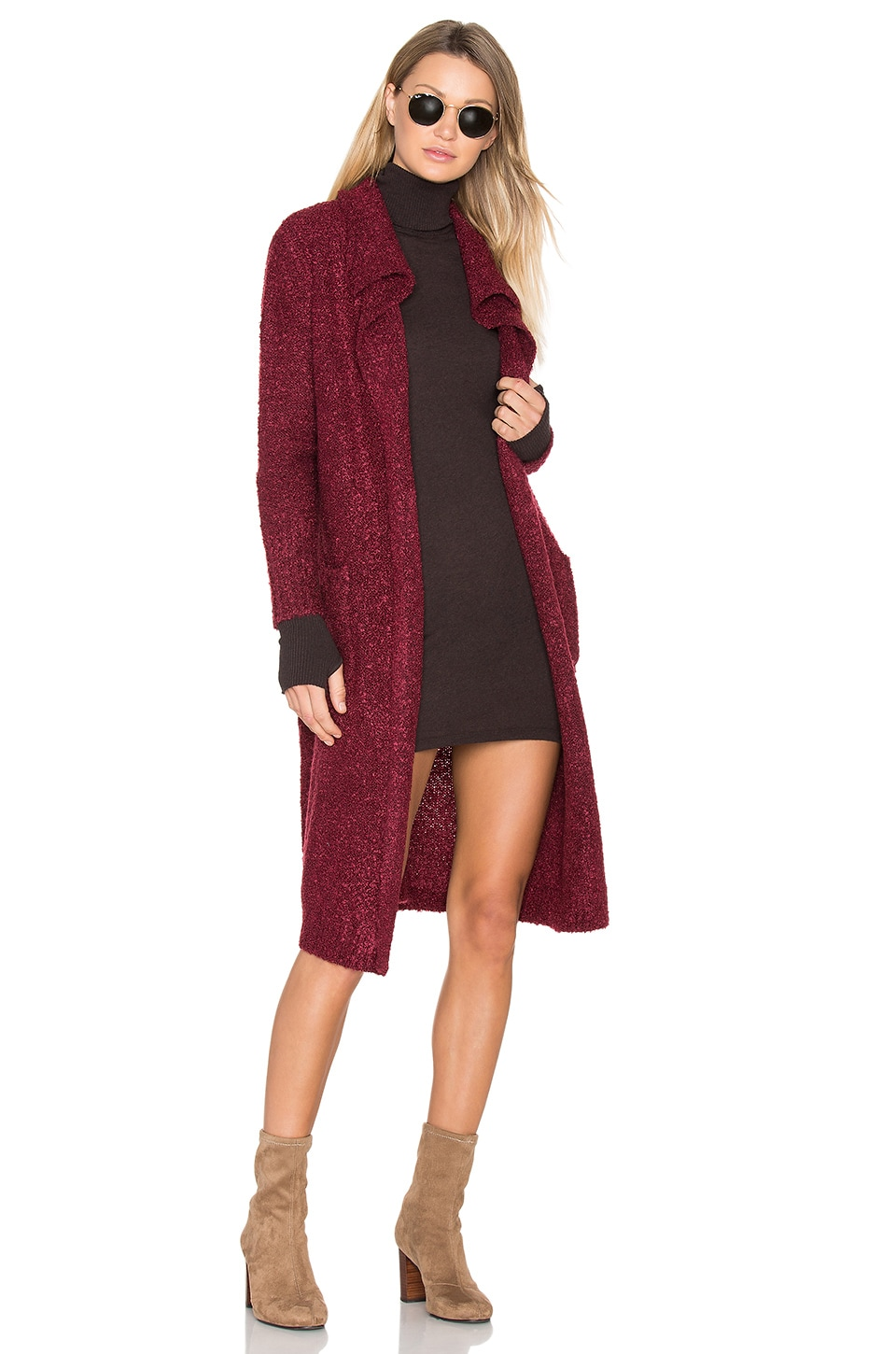 MINKPINK Looped Out Waterfall Cardigan in Wine Marle
