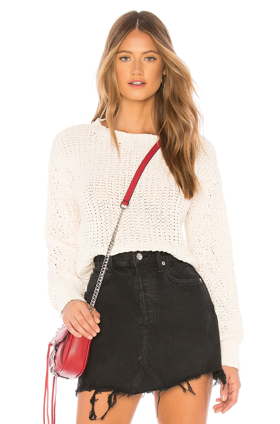 MINKPINK Knit Sweater in Off White