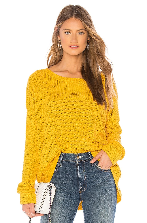 MINKPINK Waffle Sweater in Yellow